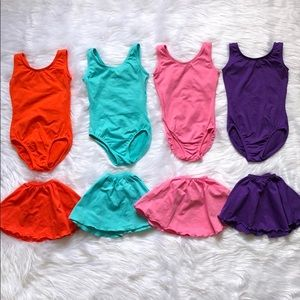 Lot of 4 leotard skirt sets size 4 5